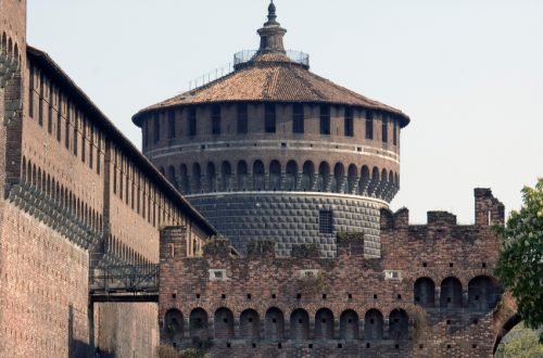 Milan (Lombardy, Italy) - A tower of the castle called Castello Sforzesco